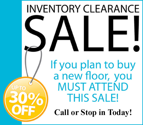 Inventory Clearance Sale going on now at Fairway Floor in Post Falls, ID.  If you plan to buy a new floor, you must attend this sale!  Call or stop in today for savings up to 30% off!